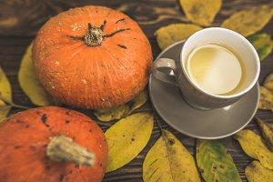 Autumn concept tea photo