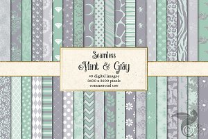 Mint and Gray Digital Papers