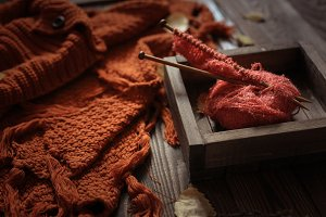 Cozy autumn background with knitted
