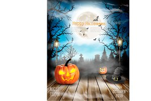 Scary Halloween background. Vector