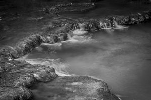 Black and white. Small river detail