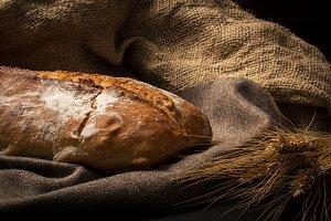 Golden crispy loaf of bread