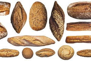 Set of various bread loaves isolated
