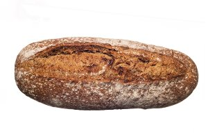 Rustic bread from above isolated on