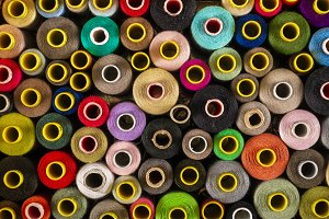 From above set of sewing spools with