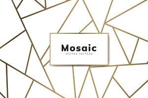 Modern mosaic wallpaper white & gold
