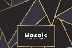 Modern mosaic wallpaper black & gold