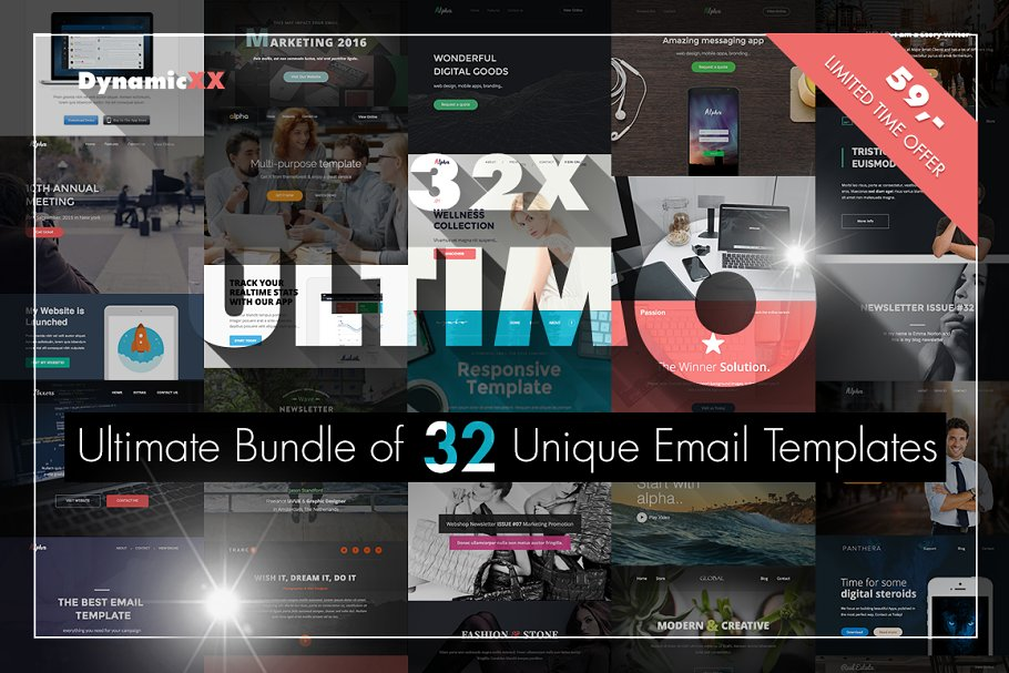 ULTIMO -bundle of 32 email templates - creativemarket preview ultimo light7 - 10 creative and affordable MailChimp templates