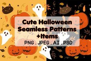 Cute Halloween Seamless Patterns