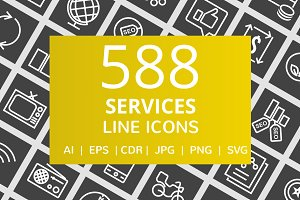 588 Services Line Inverted Icons