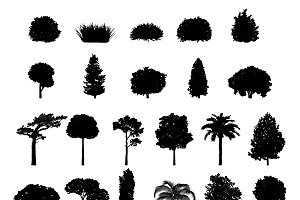 Tree and shrub silhouettes vector