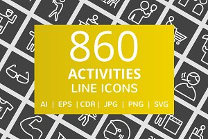 860 Activities Line Inverted Icons