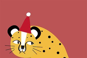 Cute cheetah cartoon vector graphic