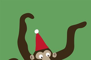 Monkey with a Christmas hat cartoon