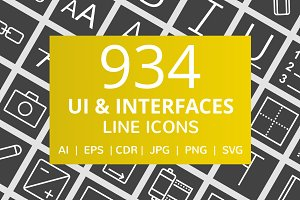 934 UI & Interfaces Line Icons