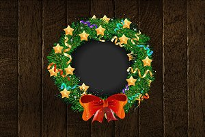 Festive Christmas wreath poster