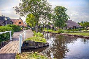 bridge and river in old dutch villag