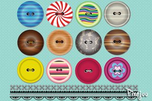 Clipart Buttons and Trim Pattern