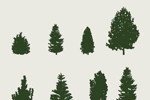Pine tree silhouettes vector