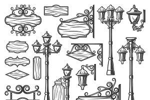 Vintage Street Lanterns Set