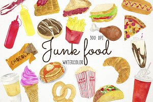 Watercolor Junk Food Clipart