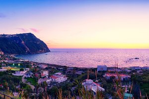 sunset coast  of Ischia island, Ital