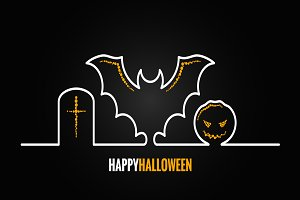 Halloween pumpkin bat design