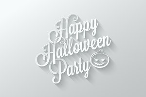 Halloween party cut paper lettering
