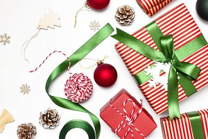 Gift boxes Christmas balls New Year