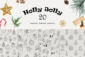 Holly Jolly - seamless patterns