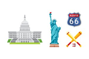 American national symbols set, USA