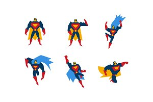 Collection of superheroes, superman