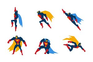 Superheroes set, superman character