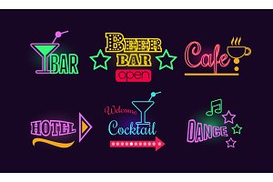 Set of glowing neon signs for beer