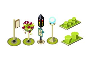 Set of isometric vector elements