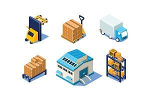 Vector set of isometric warehouse