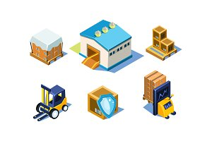 Vector set of warehouse and