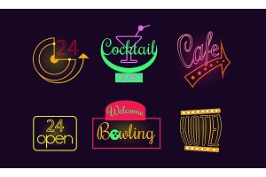 Vector set of original neon signs