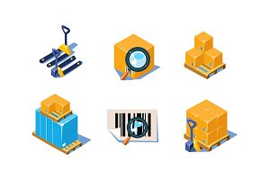 Vector set of 3D icons related to