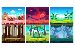 Flat vector set of 6 colorful