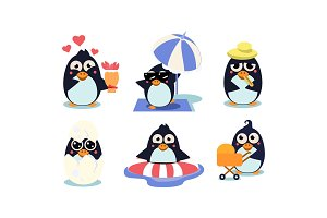 Flat vector set of cute penguins