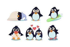 Flat vector set of funny penguins