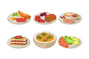 Flat vector set of appetizing