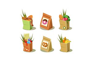 Set of paper bag with groceries