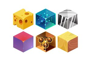 Vector set of 6 isometric cubes