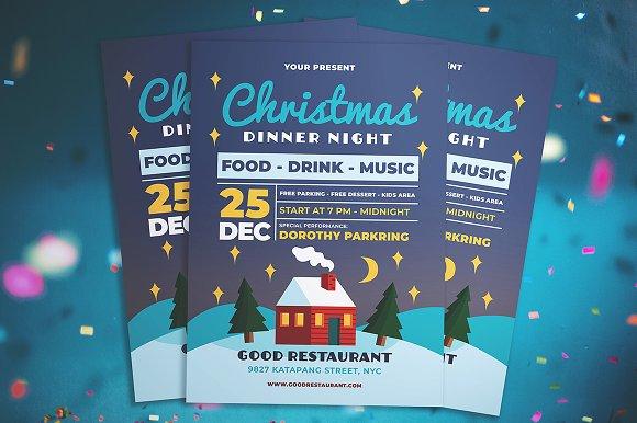 christmas dinner night flyer flyer templates creative market