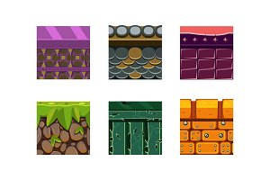 Flat vector set of 6 texture types