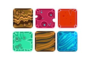 Vector set of 6 square tiles with