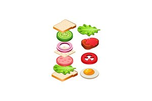 Flat vector icon of tasty sandwich