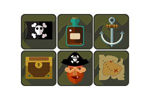 Flat vector set of pirate game